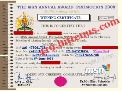 WINNER NO4 CERTIFICATE